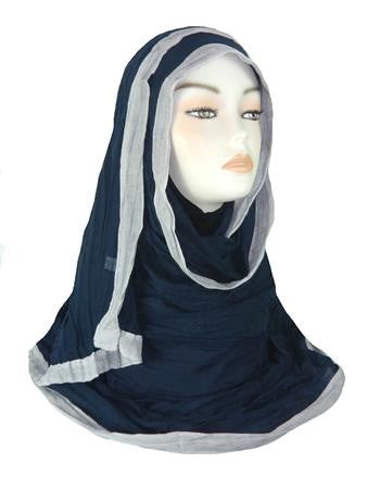 Crinkled Large Bordered Hijab PH- Navy