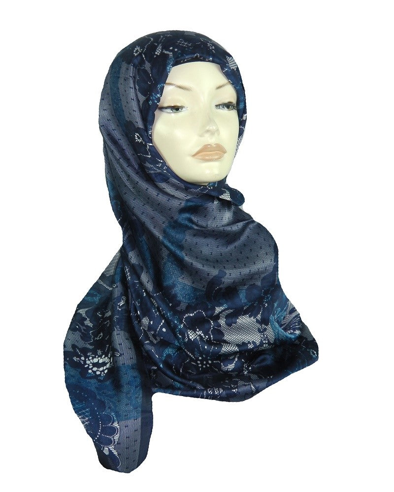 PRINTED SILK SCARF - NAVY BLUE