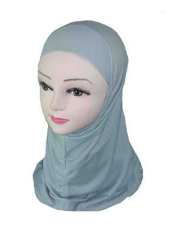 GIRLS PLAIN HIJAB - LIGHT GREY