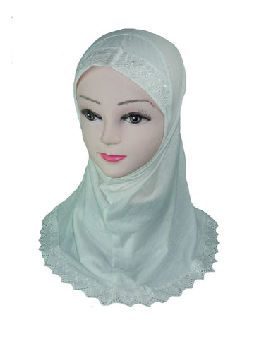 Girls Lace edged Scarf - Cream