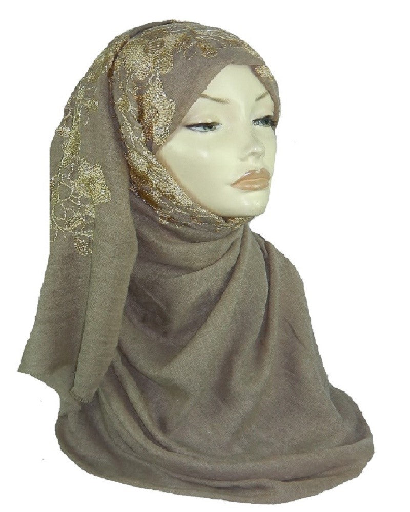 Embroidered Maxi Scarf ES-9-Beige