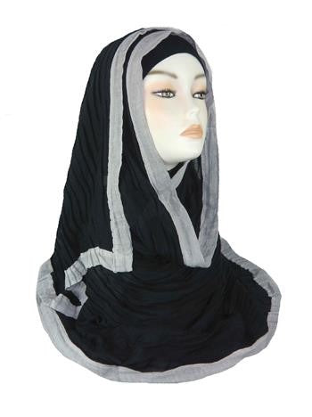 Crinkled Large Bordered Hijab PH- Black
