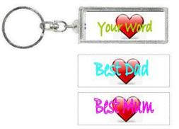 PERSONALISED KEY RING W/T-200 ANY WORD/TITLE/NAME