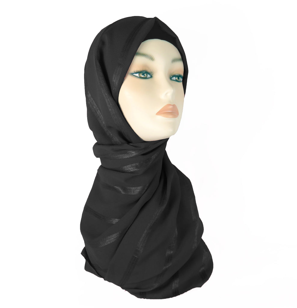 Lined Small Scarf - LS-BLACK