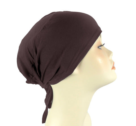 PLAIN TIE BONNET/CAP- BROWN