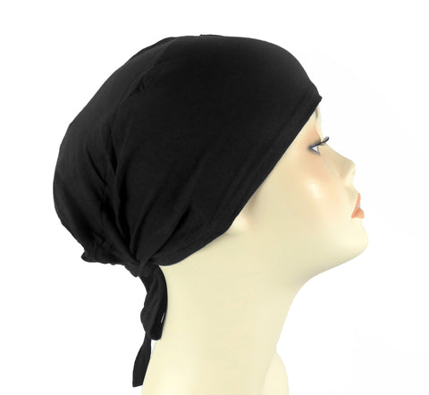 PLAIN TIE BONNET/CAP- BLACK