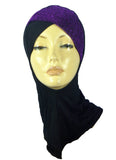 LAYERED NINJA INNER UNDERSCARF - GLITTERY PURPLE /BLACK