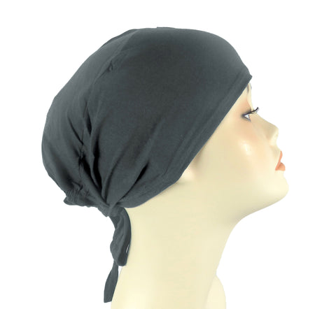 PLAIN TIE BONNET/CAP- CHARCOAL