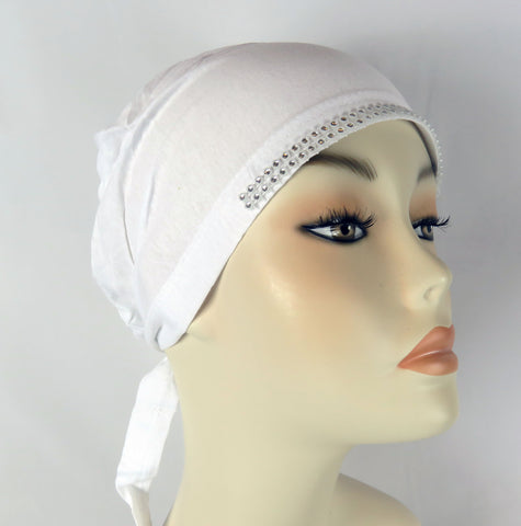Diamante Tie Bonnet Ac- white
