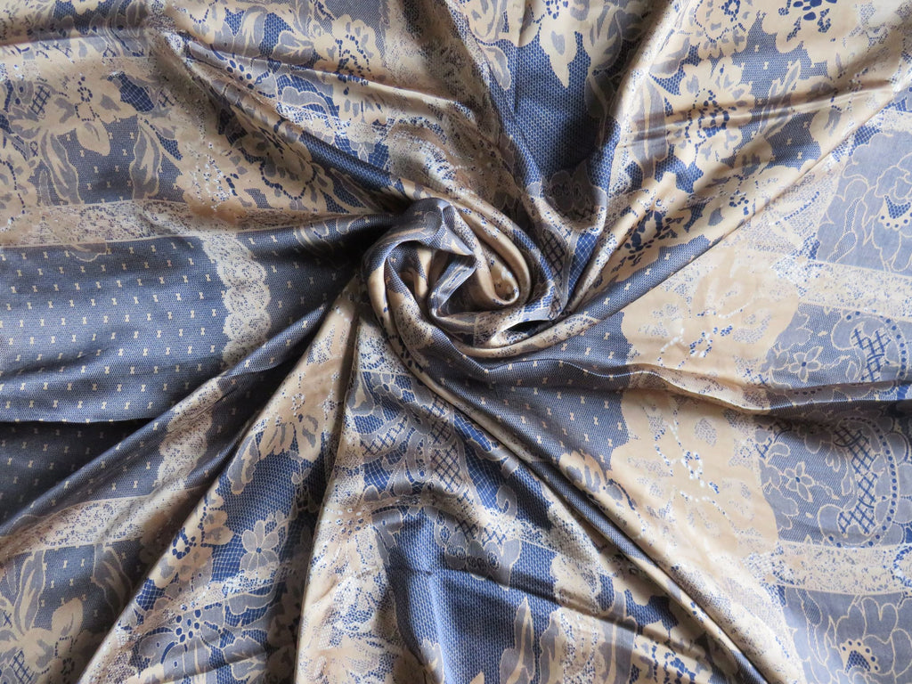 Patterned Silk Scarf/Hijab SS- Gold /Navy