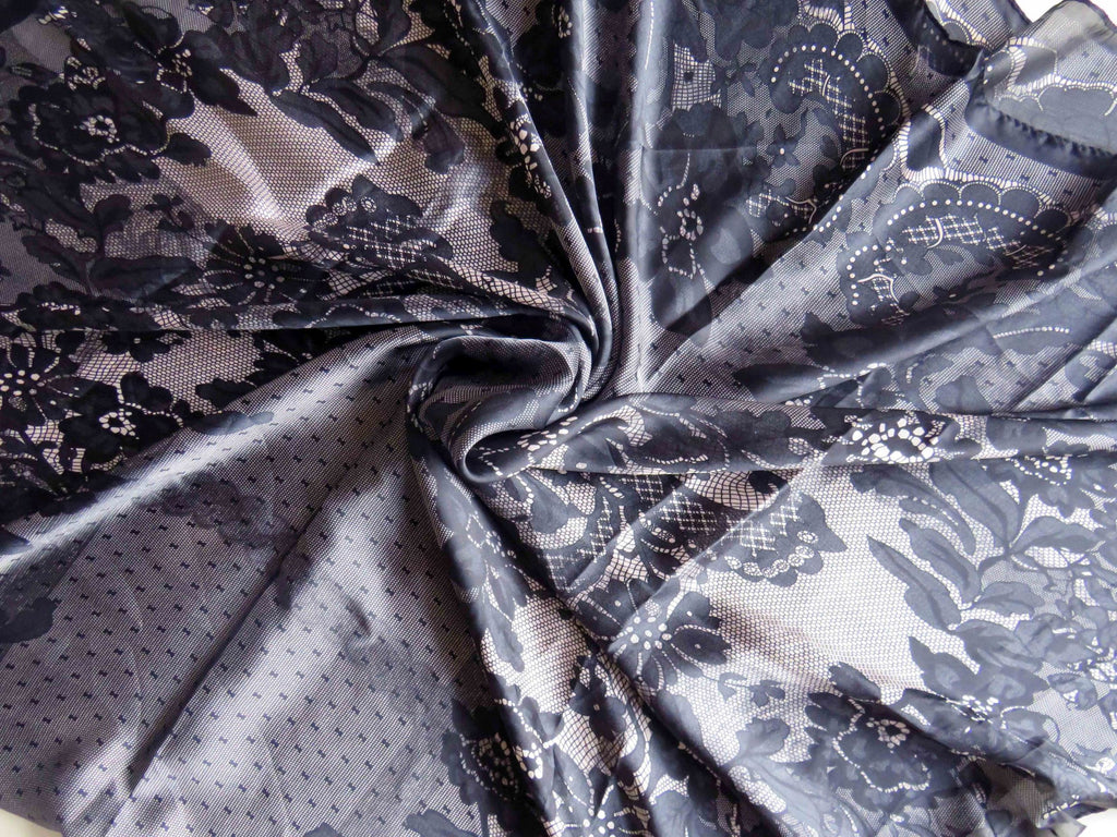 Patterned Silk Scarf/Hijab SS- Black