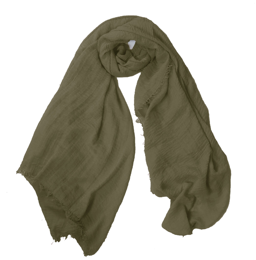 Crimp Frayed Edged Hijab PH- Khaki