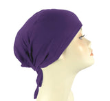 PLAIN TIE BONNET/CAP- PURPLE