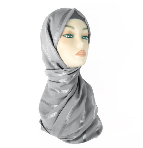 Lined Small Scarf - LS-SILVER