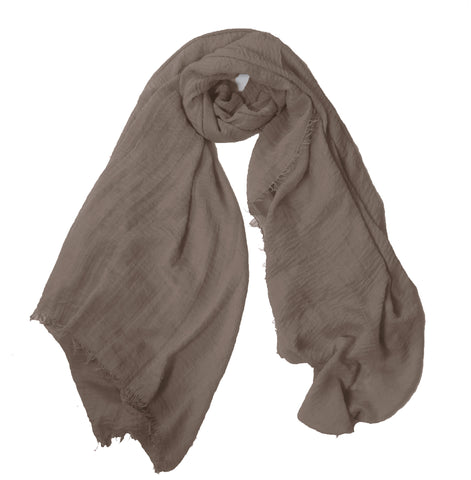 Crimp Frayed Edged Hijab - Taupe