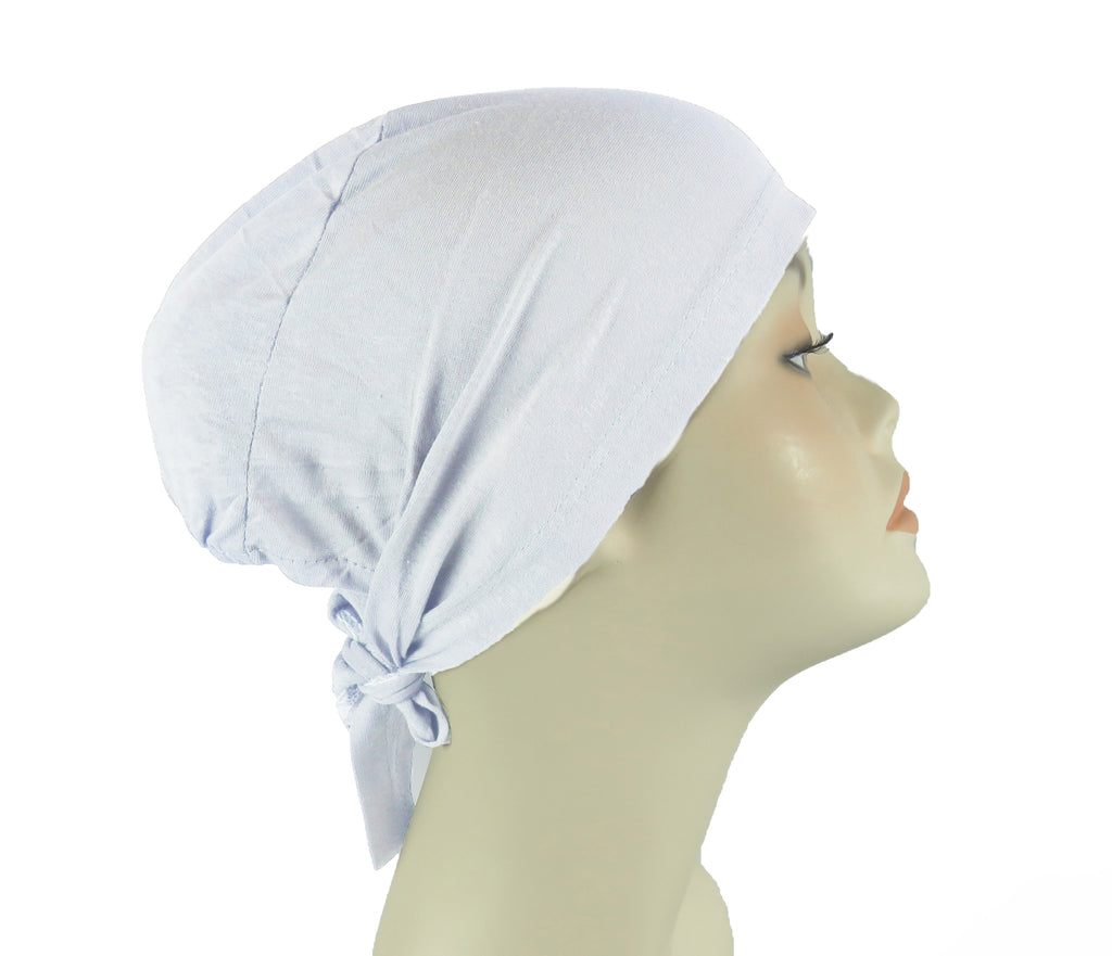 PLAIN TIE BONNET/CAP- white