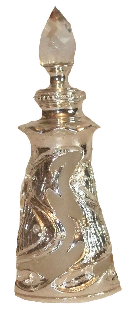 CRYSTAL ATTAR PERFUME BOTTLE (EMPTY) SILVER -02