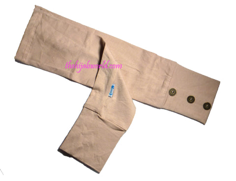 ARM COVERS/SLEEVES WITH BUTTONS -ALT- BEIGE
