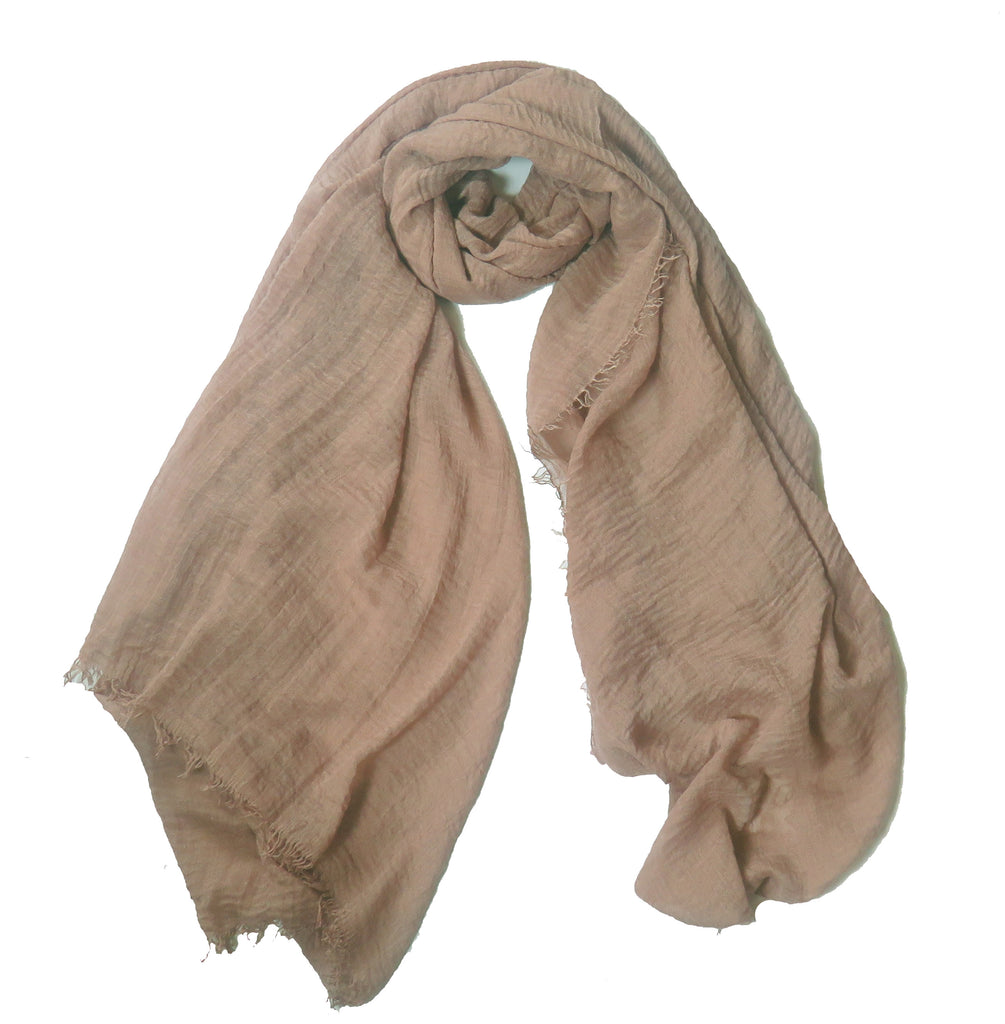 Crimp Frayed Edged Hijab - Beige