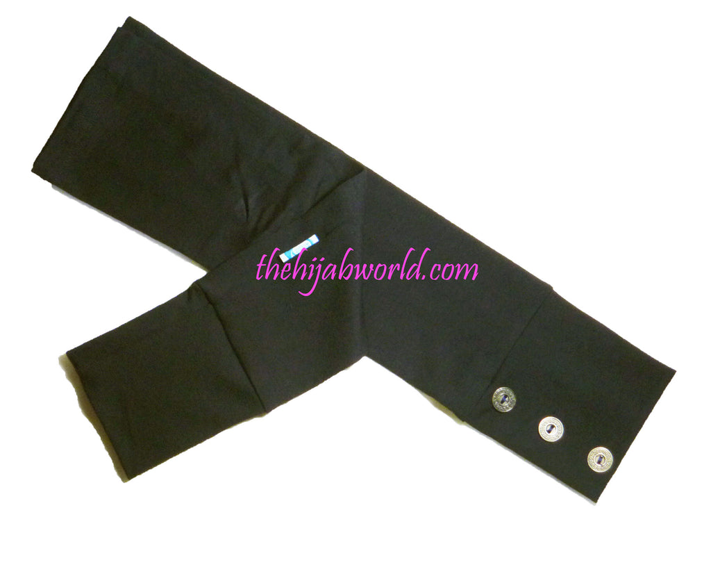 ARM COVERS/SLEEVES WITH BUTTONS -ALT- BLACK