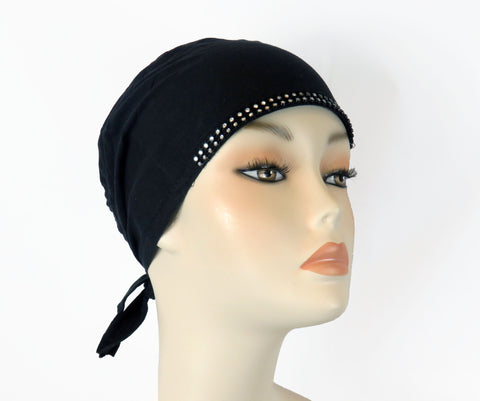 Diamante Tie up Bonnet Ac-Black