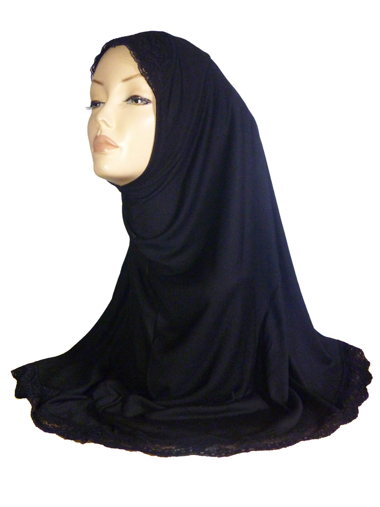 DELUXE LACE EDGED HIJAB AA1 - BLACK