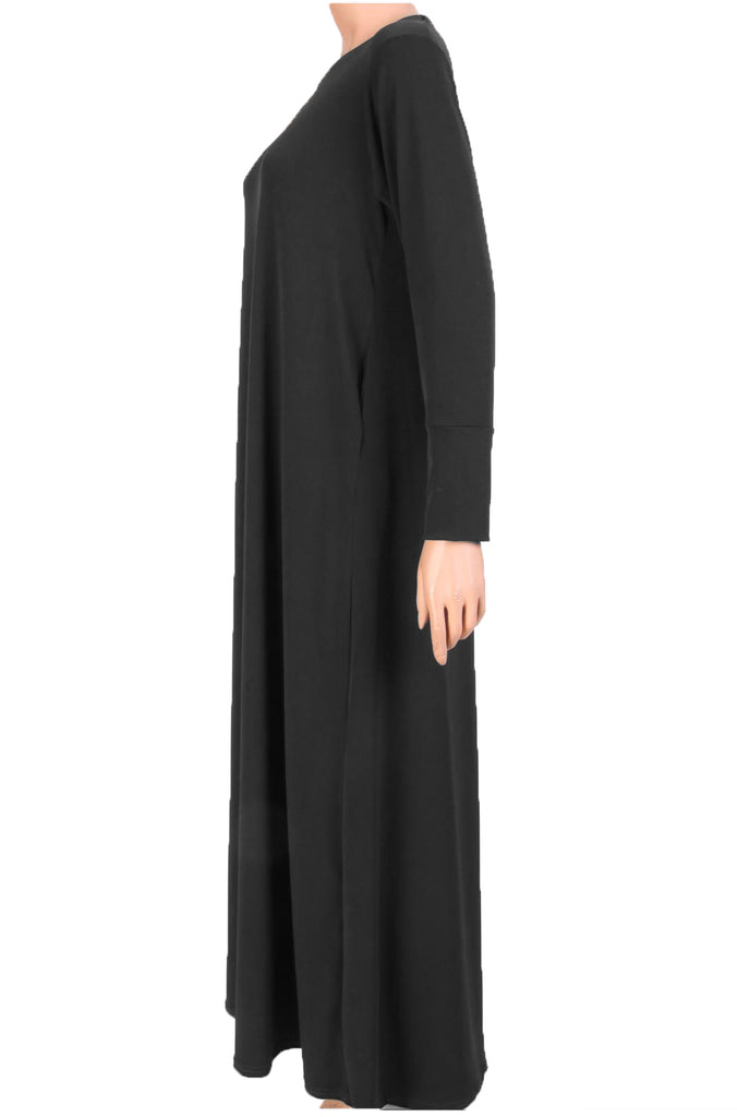 ESSENTIAL PLAIN JERSEY ABAYA- BLACK