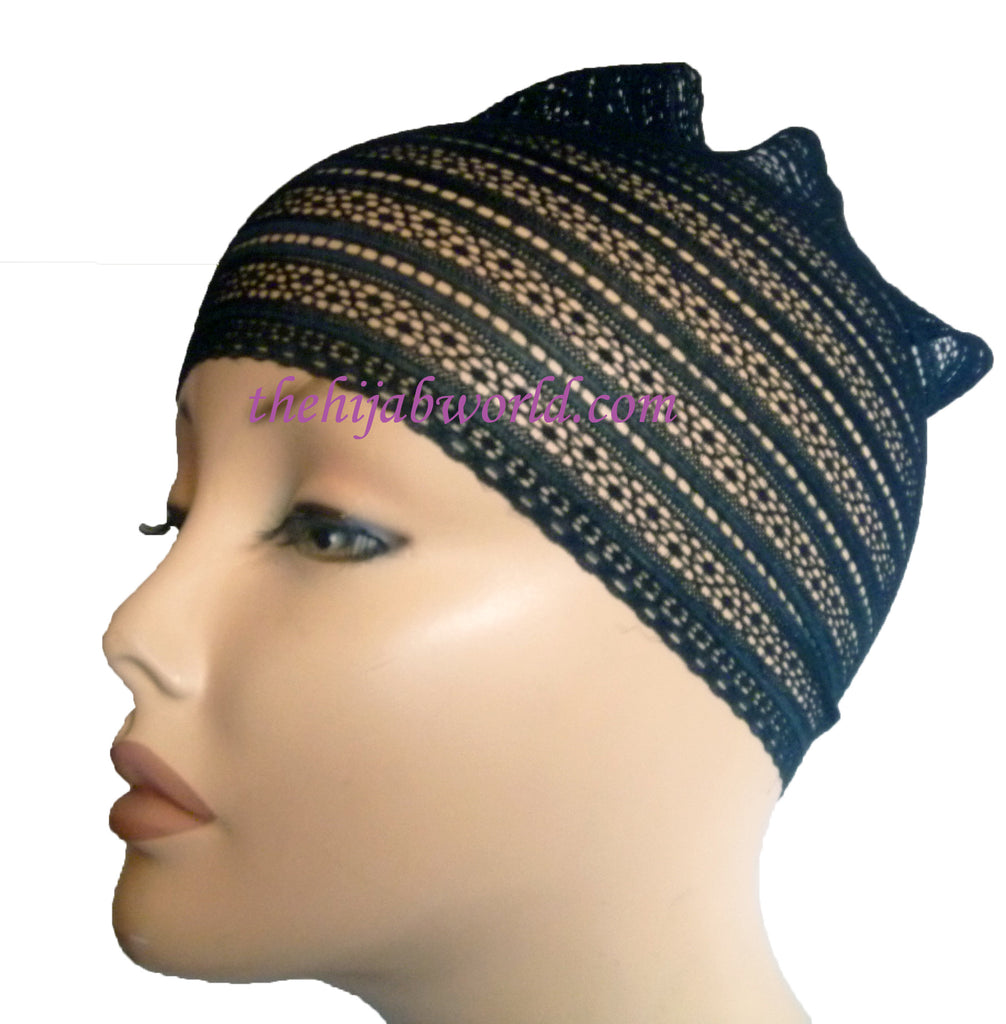 Lace Hijab band  - Black Line