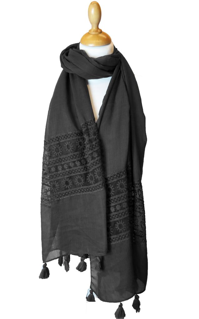 Lace and Tassel Hijab/Scarf- ES1019- Black