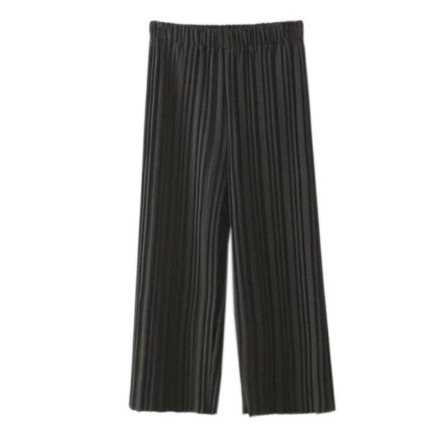 FULL LENGTH PLEATED CULOTTE TROUSERS - Black