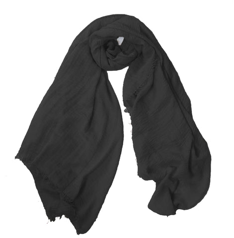 Crimp Frayed Edged  Hijab PH- Black