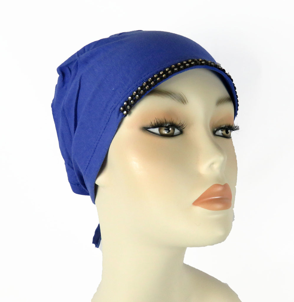Diamante Tie up Bonnet Ac- Blue