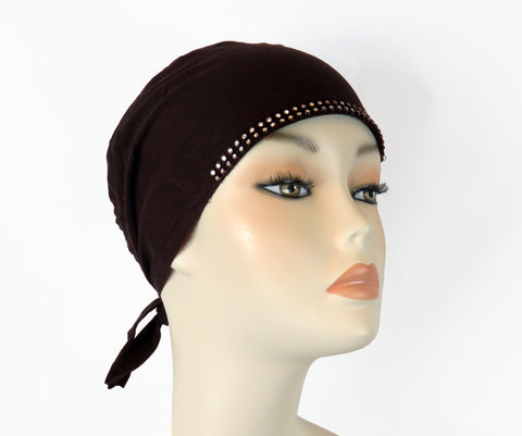 Diamante Tie up Bonnet Ac- Drk Brown