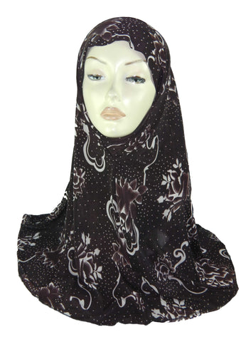 PRINTED AL AMIRA HIJAB 1 PC. BROWN-1