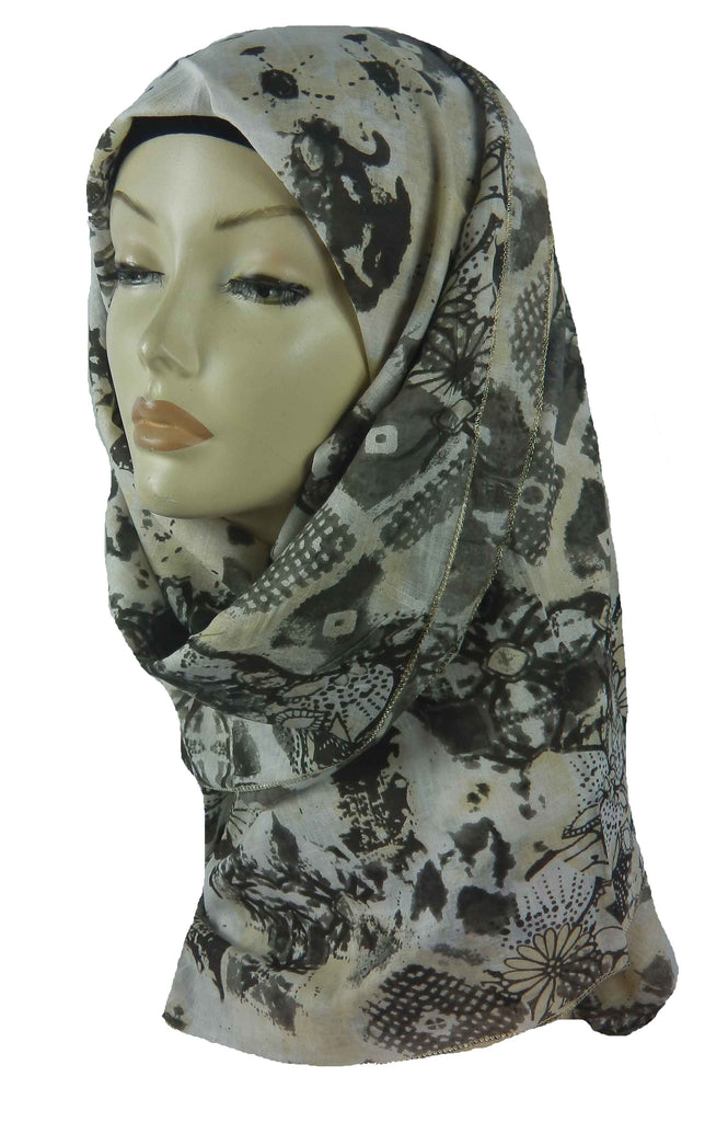 COTTON SQUARE PRINT SCARF - BROWN