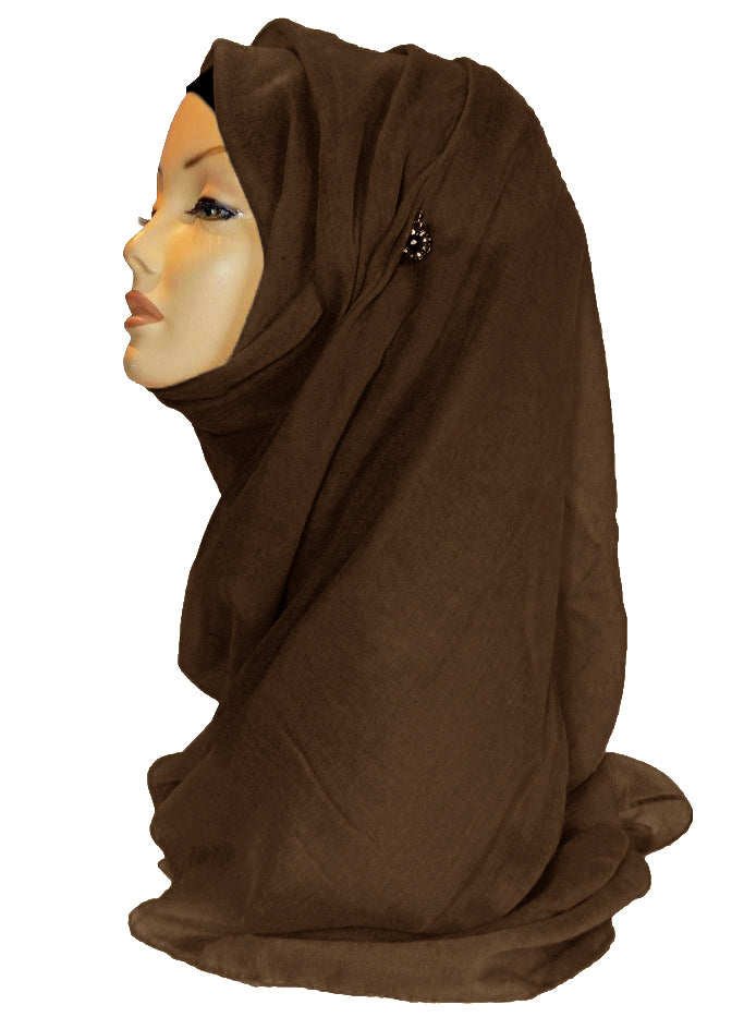 Improved Maxi Hijab/Scarf  - dark Brown