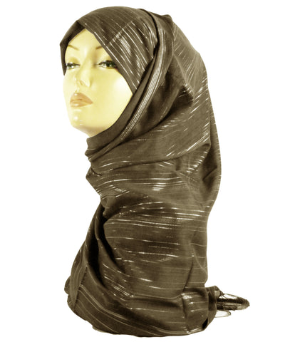 Chiffon Sparkly Lined Hijab SS- Brown