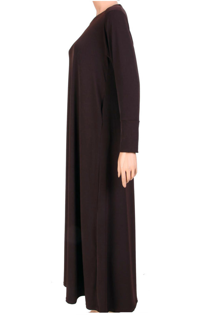 ESSENTIAL PLAIN JERSEY ABAYA- DRK. BROWN