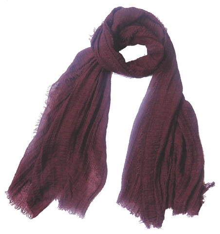 Crimp Frayed Edged Hijab - Burgundy