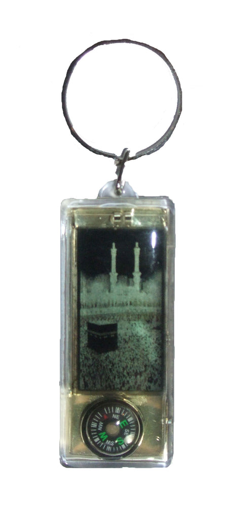 SOLAR FLASHING MAKKAH IMAGE AND QIBLA COMPASS KEYRING