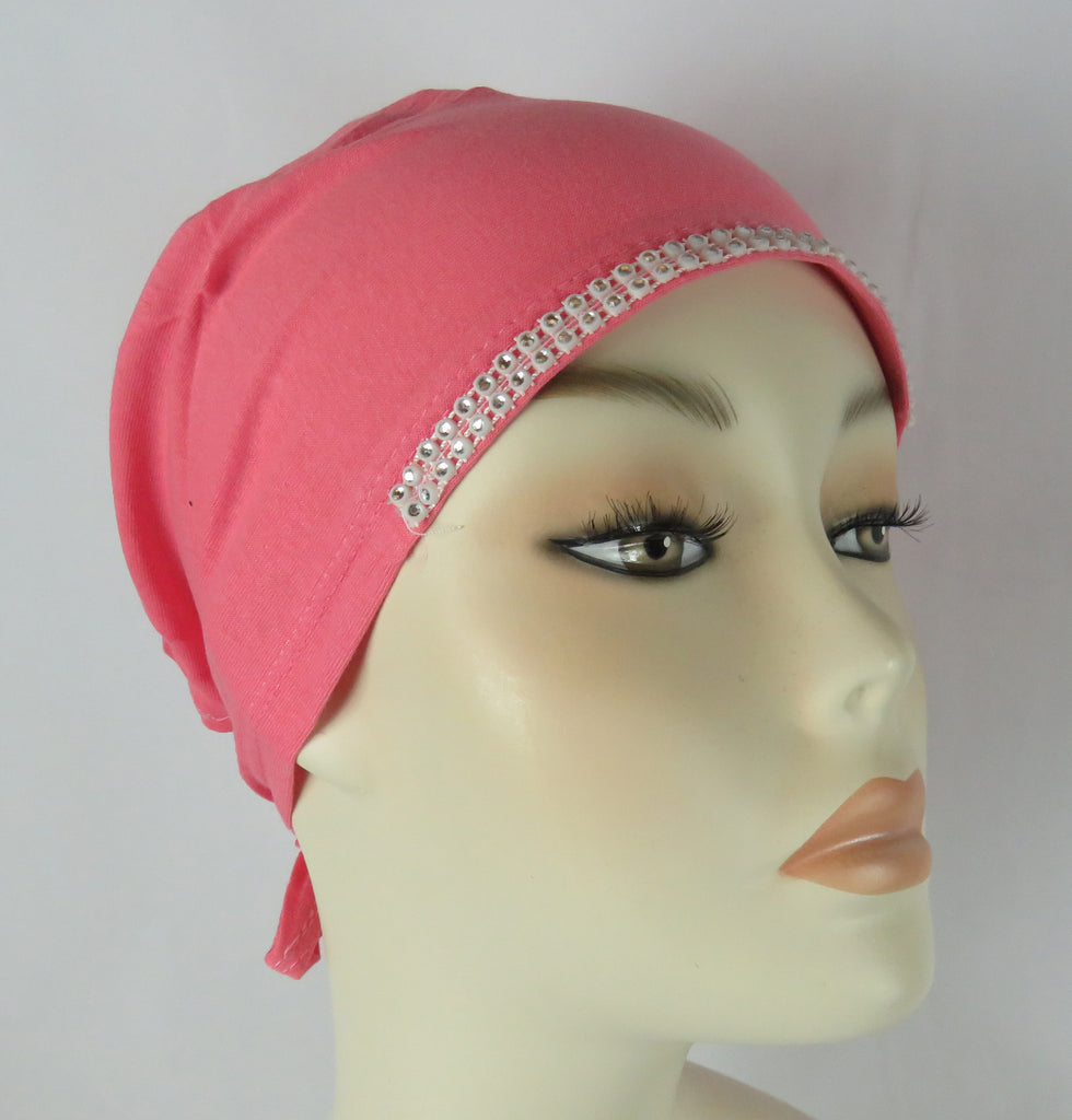 Diamante Tie up Bonnet Ac- Coral