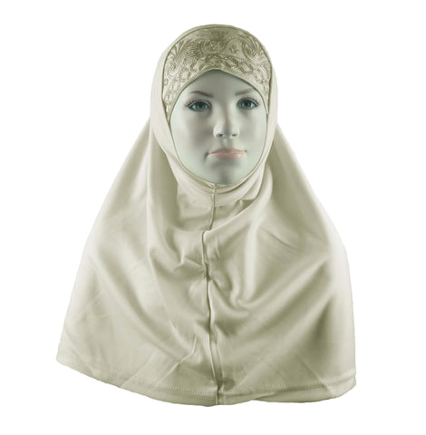 BEADED GIRLS HIJAB - Cream 2 PIECE