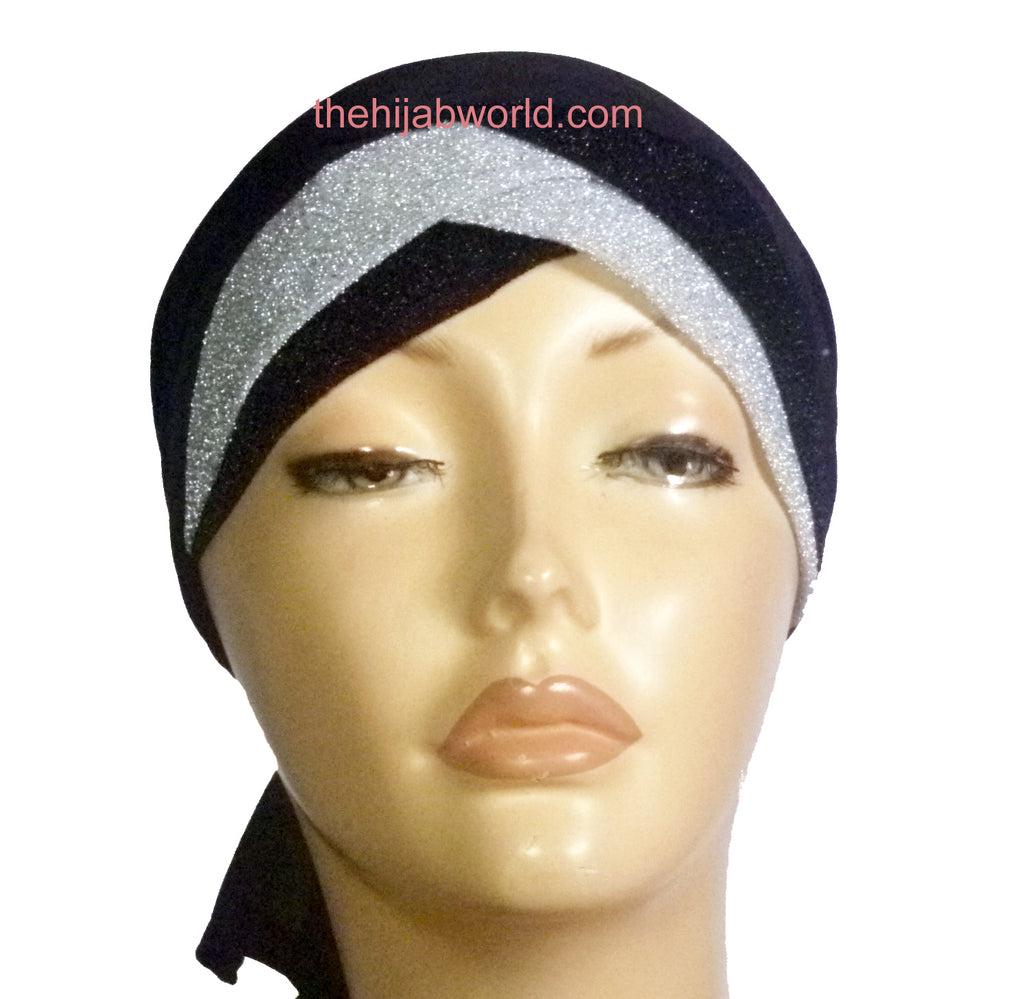 Glitzy Layered Bonnet Cap - Black/Silver