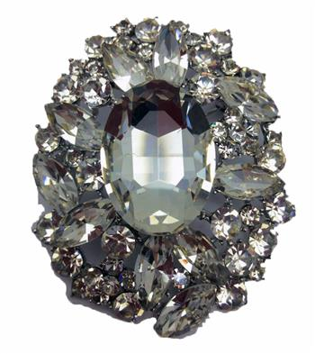 BROOCH WITH OVAL STONE - B814 CRYSTAL