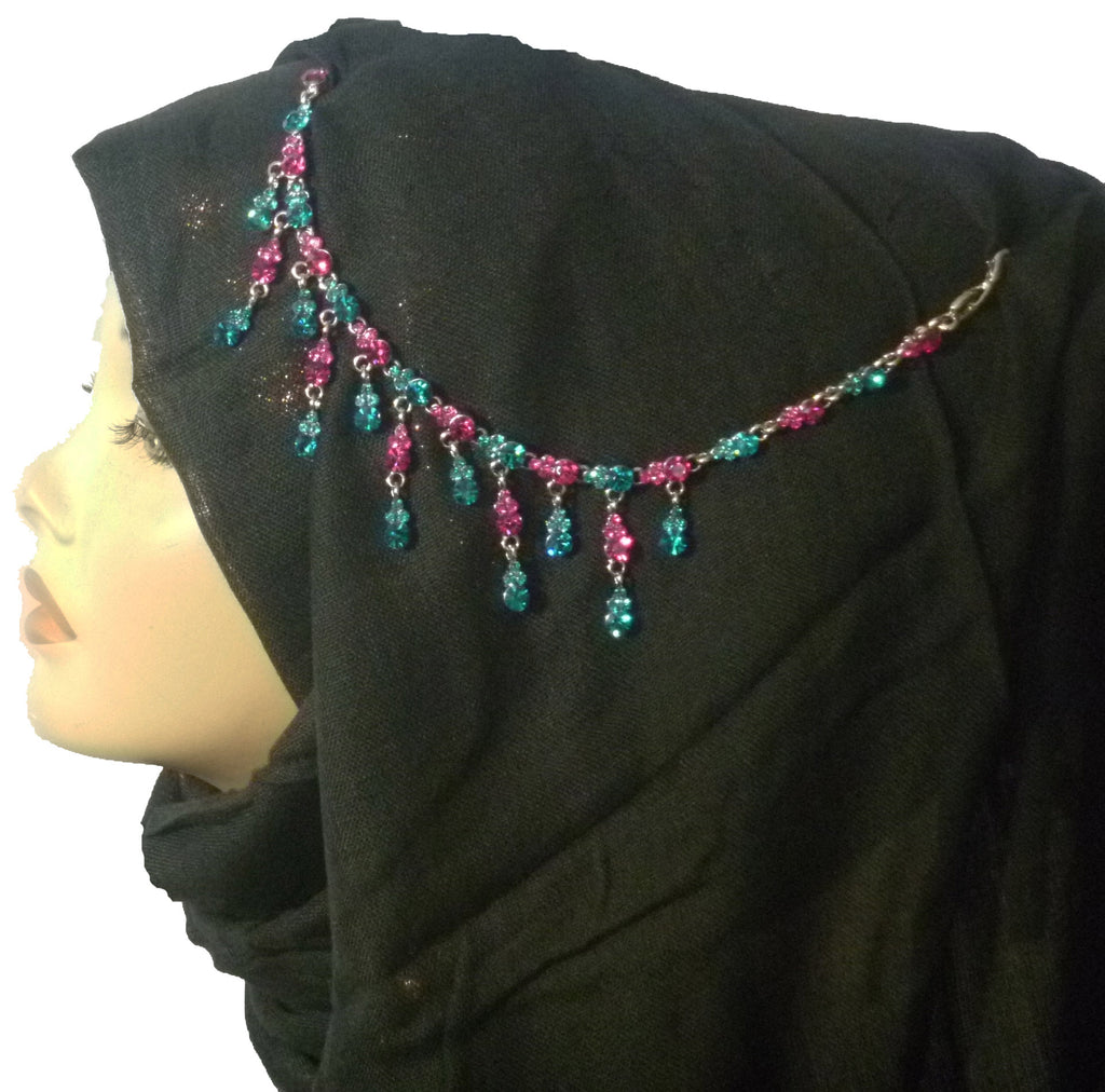 CRYSTAL DANGLING UNIQUE HEAD PIECE - BLU ZIRCON/FUCHSIA - CHA-14