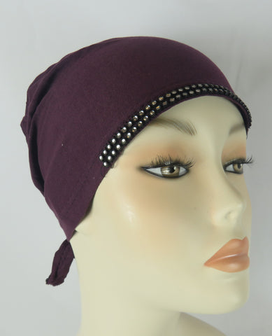 Diamante Tie up Bonnet Ac- Burgundy