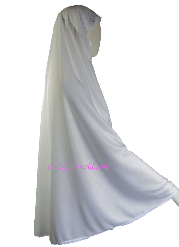 8XL Diamanté extra Long Burkha/ Khimar- WHITE /BLACK