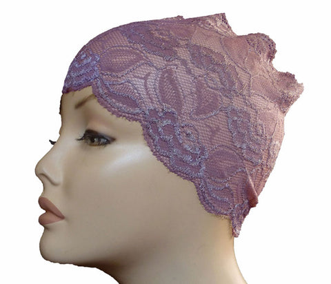 Lace Hijab band  - Mauve
