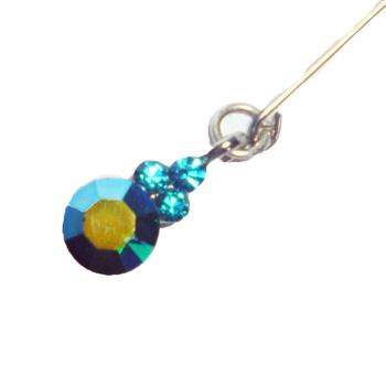CRYSTAL DANGLING PIN-TEAL