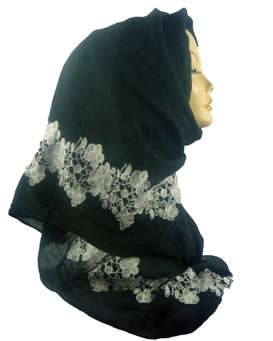 Embroidered Maxi Scarf ES-9-Black